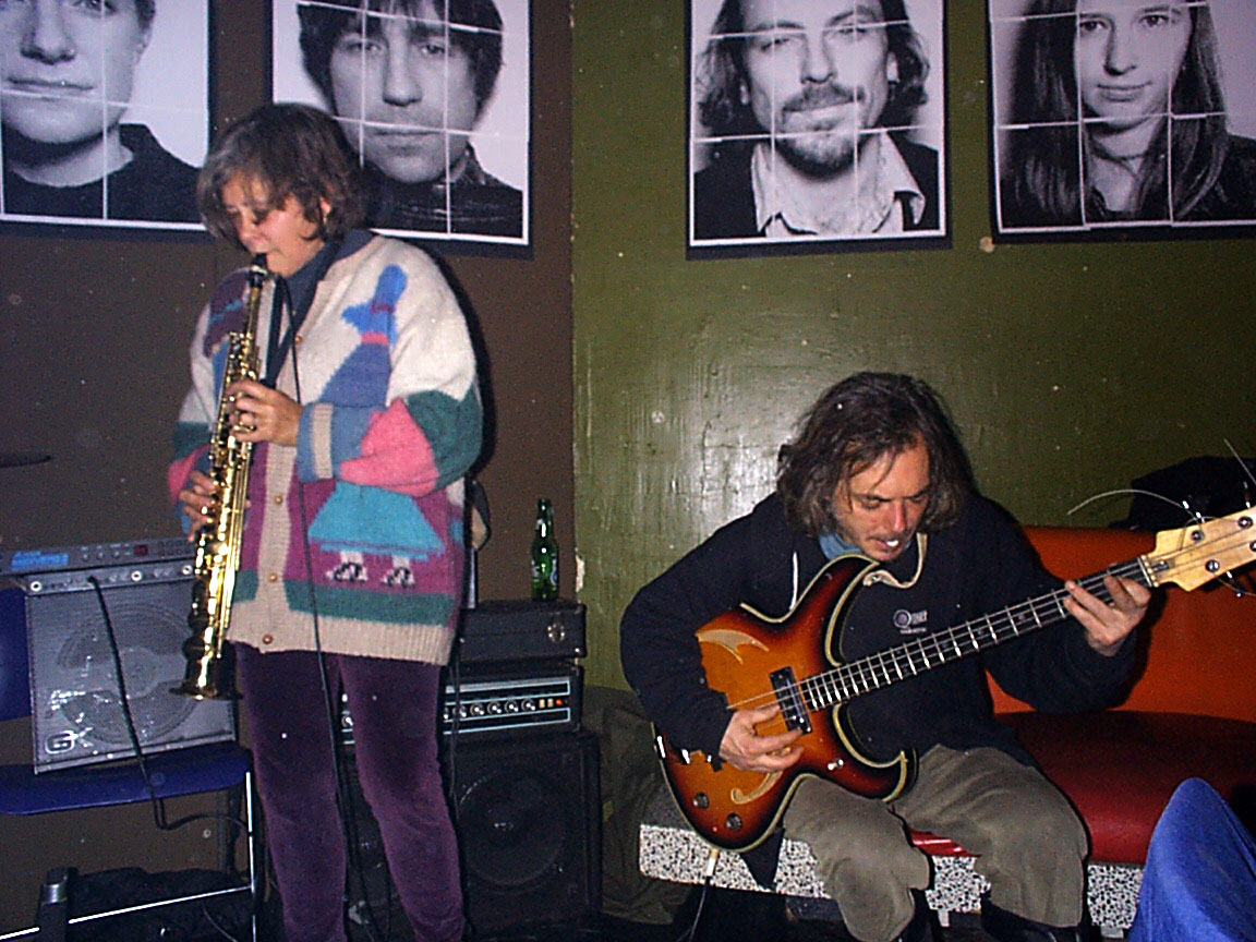 Peggi Fournier and Pete LaBonne playing music at Paul Dodd Mugshot Show opening, Bug Jar, Rochester New York 1998