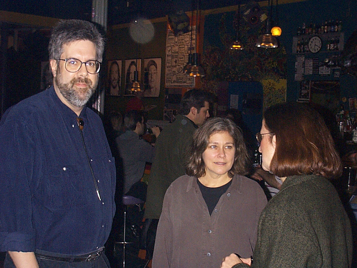 Gary Brandt, Peggi Fournier and Kathy Krupp at Paul Dodd Mugshot Show opening, Bug Jar, Rochester New York 1998