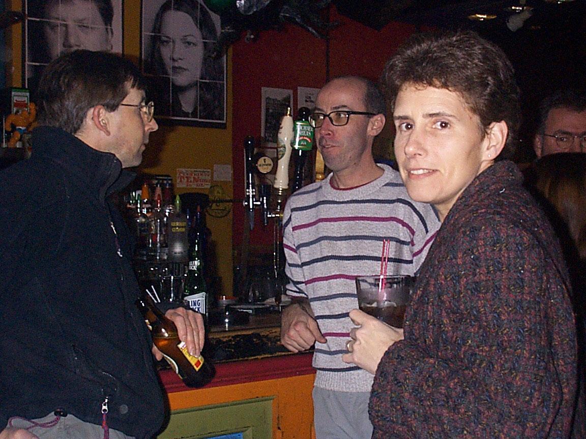 John Dodd, Martin Edic and Lorrie Freer at Paul Dodd Mugshot Show opening, Bug Jar, Rochester New York 1998