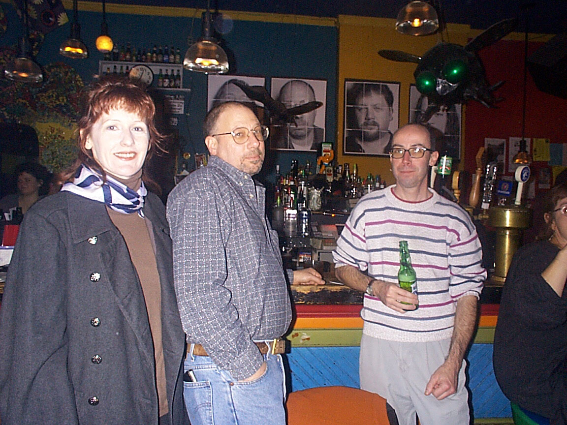 Julie, Mike Deming and Martin Edic at Paul Dodd Mugshot Show opening, Bug Jar, Rochester New York 1998