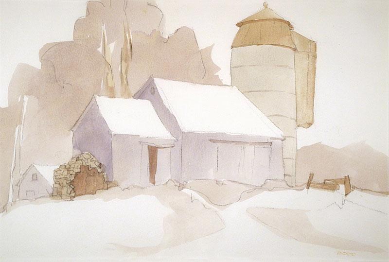 """""""Farm In Vermont"""" watercolor by Leo Dodd 15""""h x 22""""w at """"3 Ds in Dodd""""  I-Square Gallery 2014"""