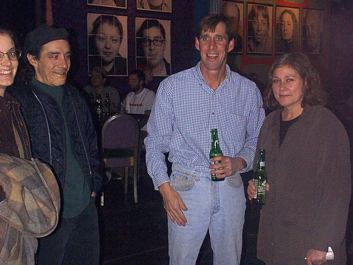 Judy, Michael Barone, Fran Dodd and Peggi Fournier at Paul Dodd Mugshot Show opening, Bug Jar, Rochester New York 1998