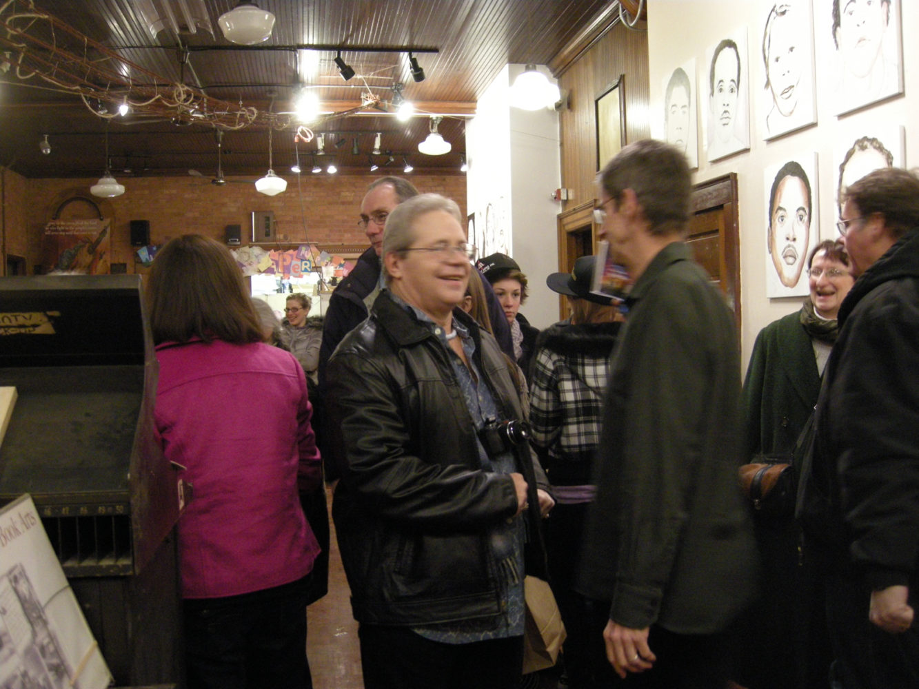 "John Gilmore and Paul Dodd at opening of Paul Dodd ""Local Crime Faces 2009"" at Printing Book Arts Center 2009"