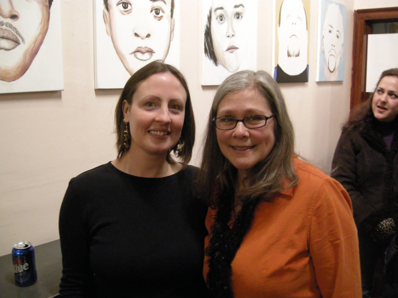 "Lora Benson and Peggi Fournier at opening of Paul Dodd ""Local Crime Faces 2009"" at Printing Book Arts Center 2009"