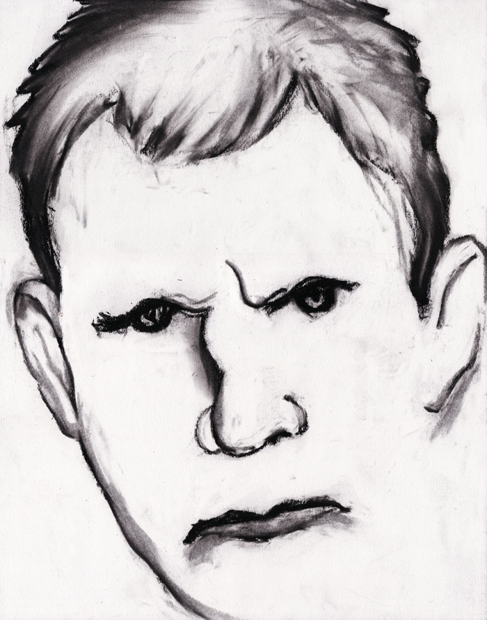"Paul Dodd ""Model From Crime Page, 02"" 2011 charcoal on paper"