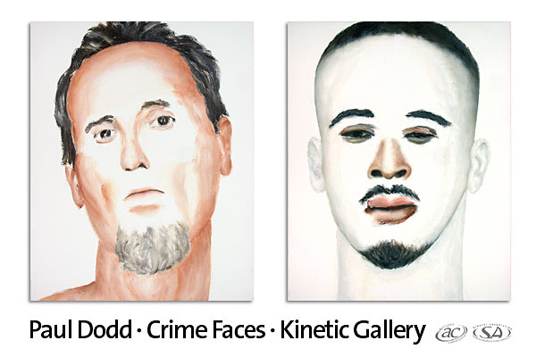 "Postcard from Paul Dodd Painting Show at the Kinetic Gallery, SUNY Geneseo September 2007 Show featured 24 ""Crime Faces"" oil on canvas and wood panels, 16""x20"" each"