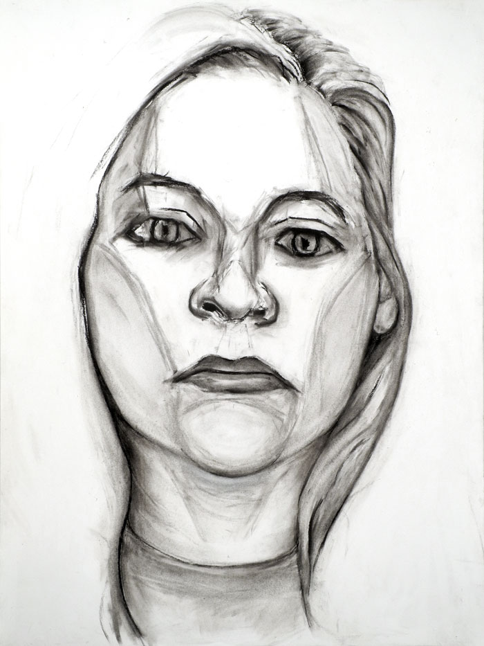 "Paul Dodd ""Model From Crime Page, 13"" 2012 18""w x 24""h each, charcoal on paper"