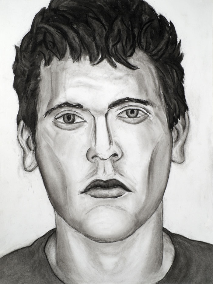 "Paul Dodd ""Model From Crime Page, 17"" 2012 18""w x 24""h each, charcoal on paper"