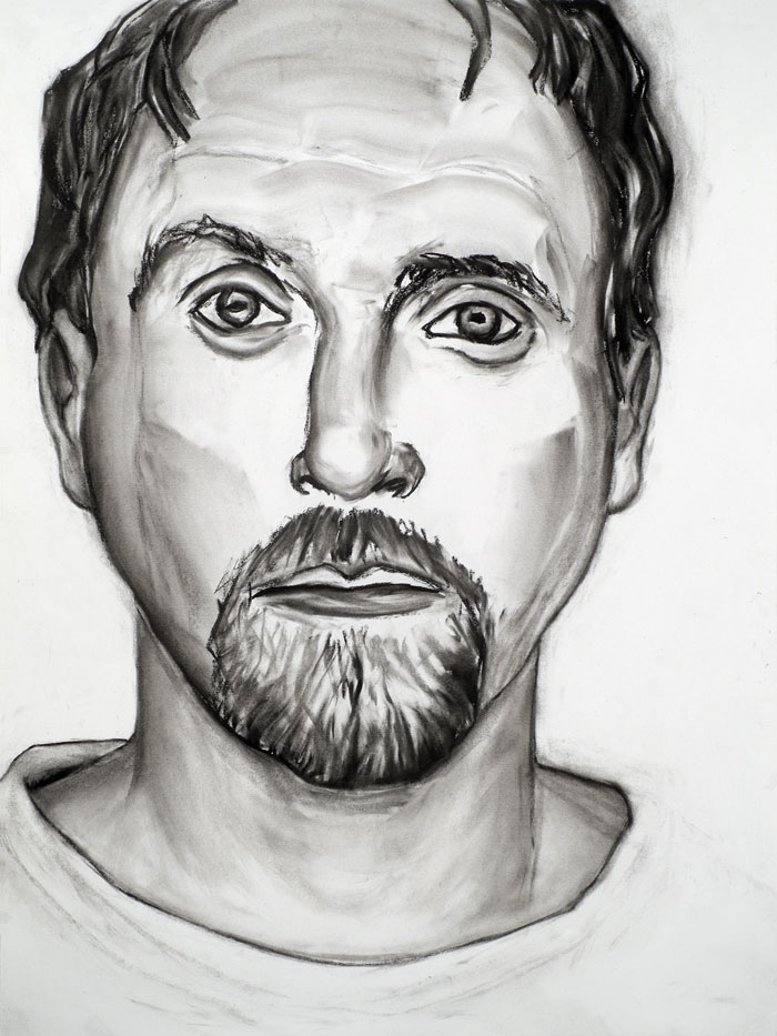 "Paul Dodd ""Model From Crime Page, 18"" 2012 18""w x 24""h each, charcoal on paper"