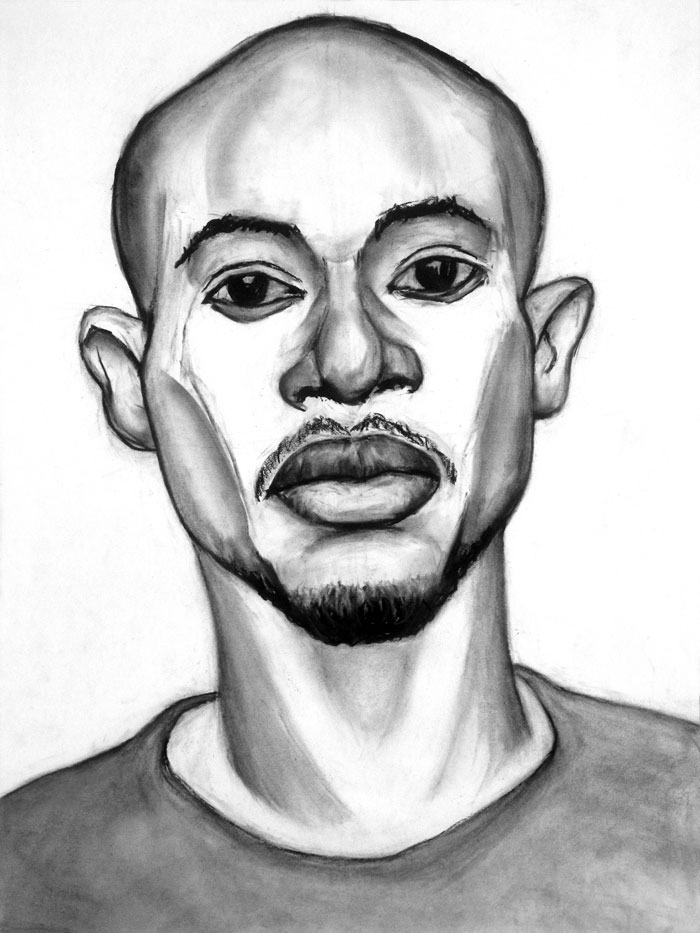 "Paul Dodd ""Model From Crime Page, 02"" 2013 18""w x 24""h each, charcoal on paper"