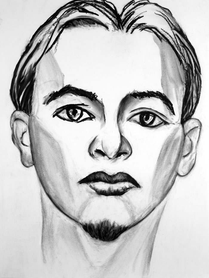 "Paul Dodd ""Model From Crime Page, 01"" 2014 18""w x 24""h each, charcoal on paper"