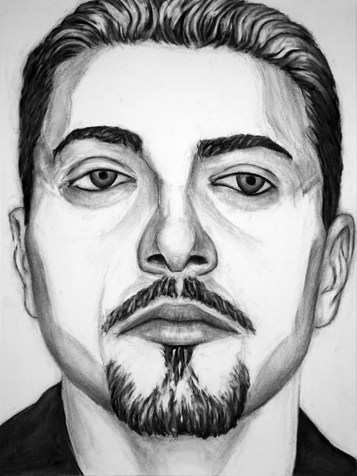 "Paul Dodd ""Model From Crime Page, 14"" 2017 18""w x 24""h each, charcoal on paper"