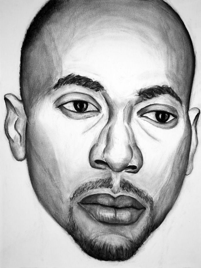 "Paul Dodd ""Model From Crime Page, 16"" 2017 18""w x 24""h each, charcoal on paper"