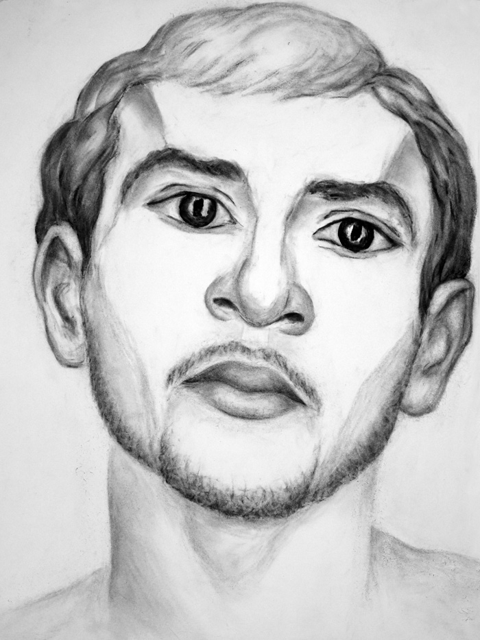 "Paul Dodd ""Model From Crime Page, 17"" 2017 18""w x 24""h each, charcoal on paper"