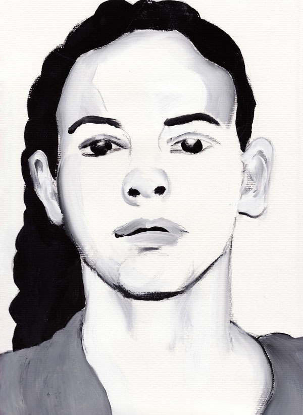 "Paul Dodd ""Model From Crime Page, 01"" 2011 watercolor on paper"