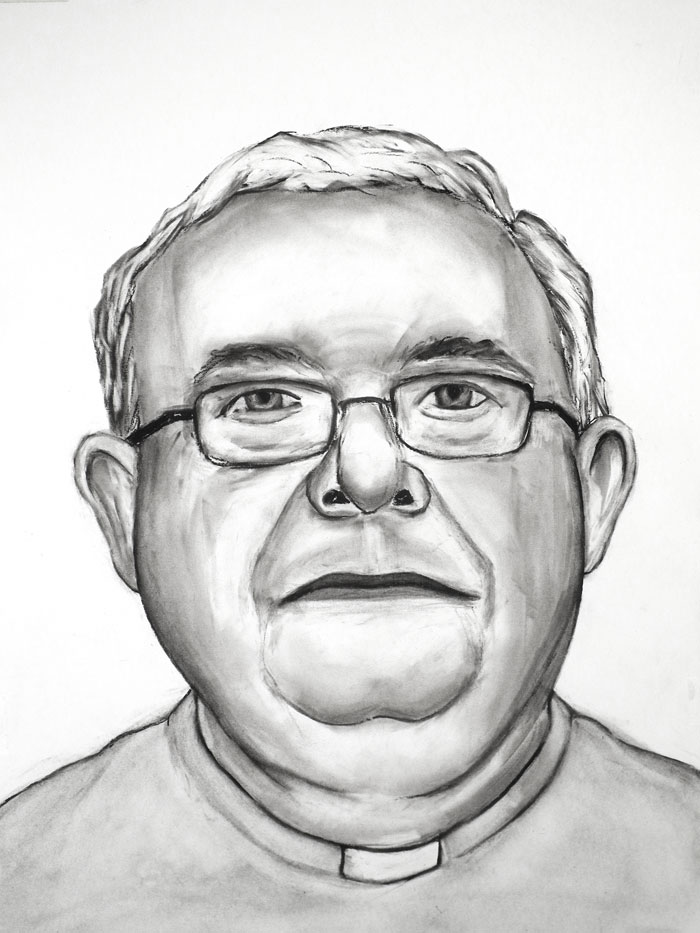 "Paul Dodd ""Philadelphia Priest, 02"" 2012, 18""w x 24""h each, charcoal on paper"