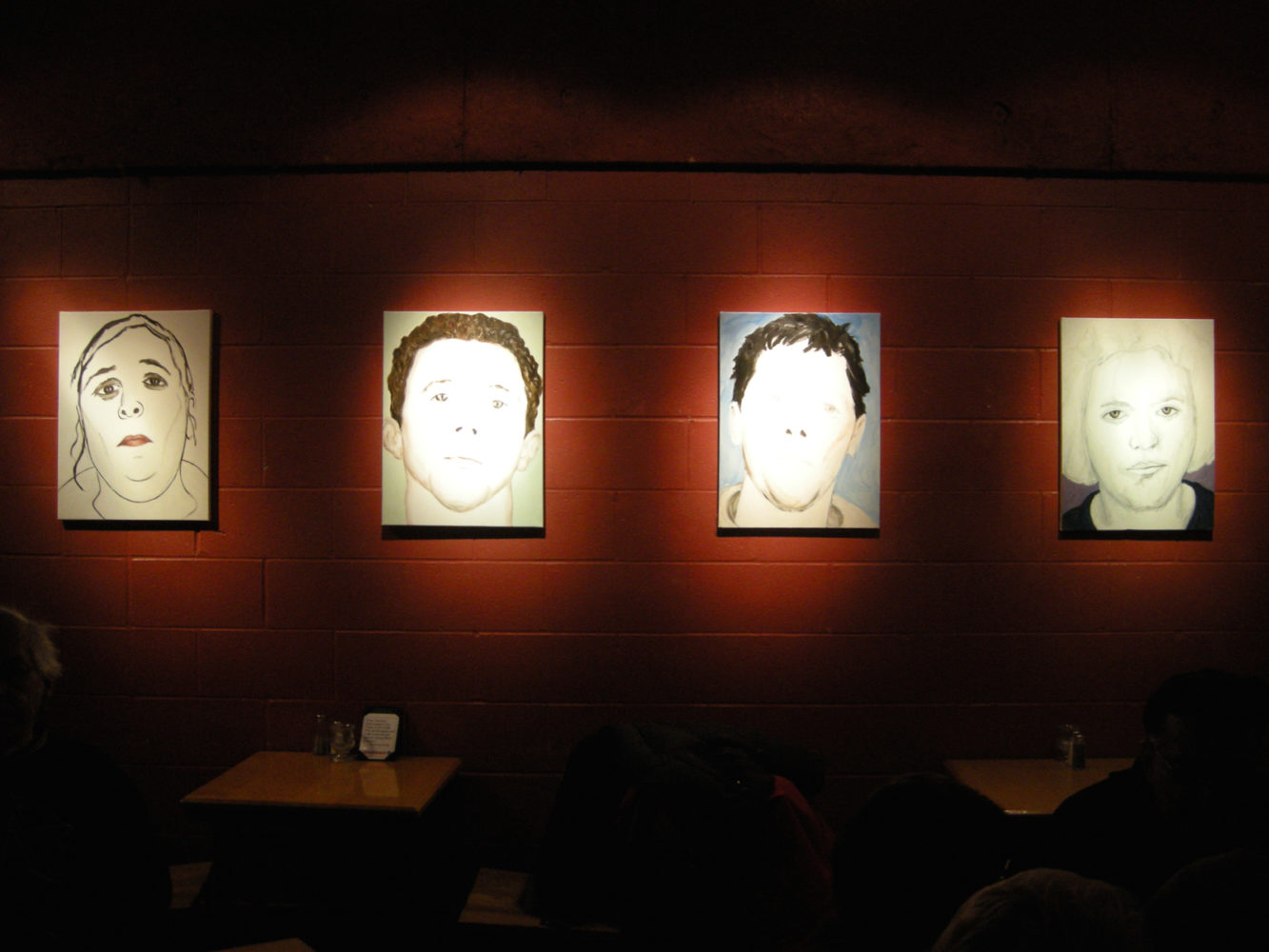 "Installation shots of Paul Dodd ""Local Crime Faces 2009"" at Little Theatre Café 2009"