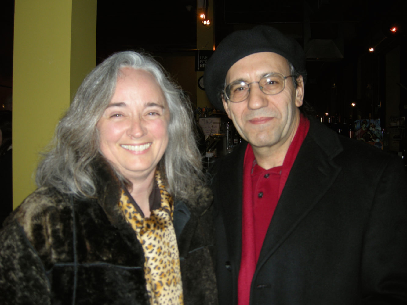 "Alice de Mauriac and Julio Sanchez-Banos at opening of Paul Dodd ""Local Crime Faces 2009"" at Little Theatre Café 2009"