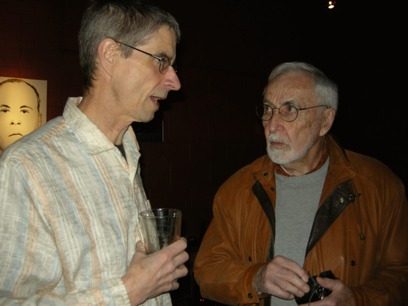 "Paul Dodd and Leo Dodd at opening of Paul Dodd ""Local Crime Faces 2009"" at Little Theatre Café 2009"