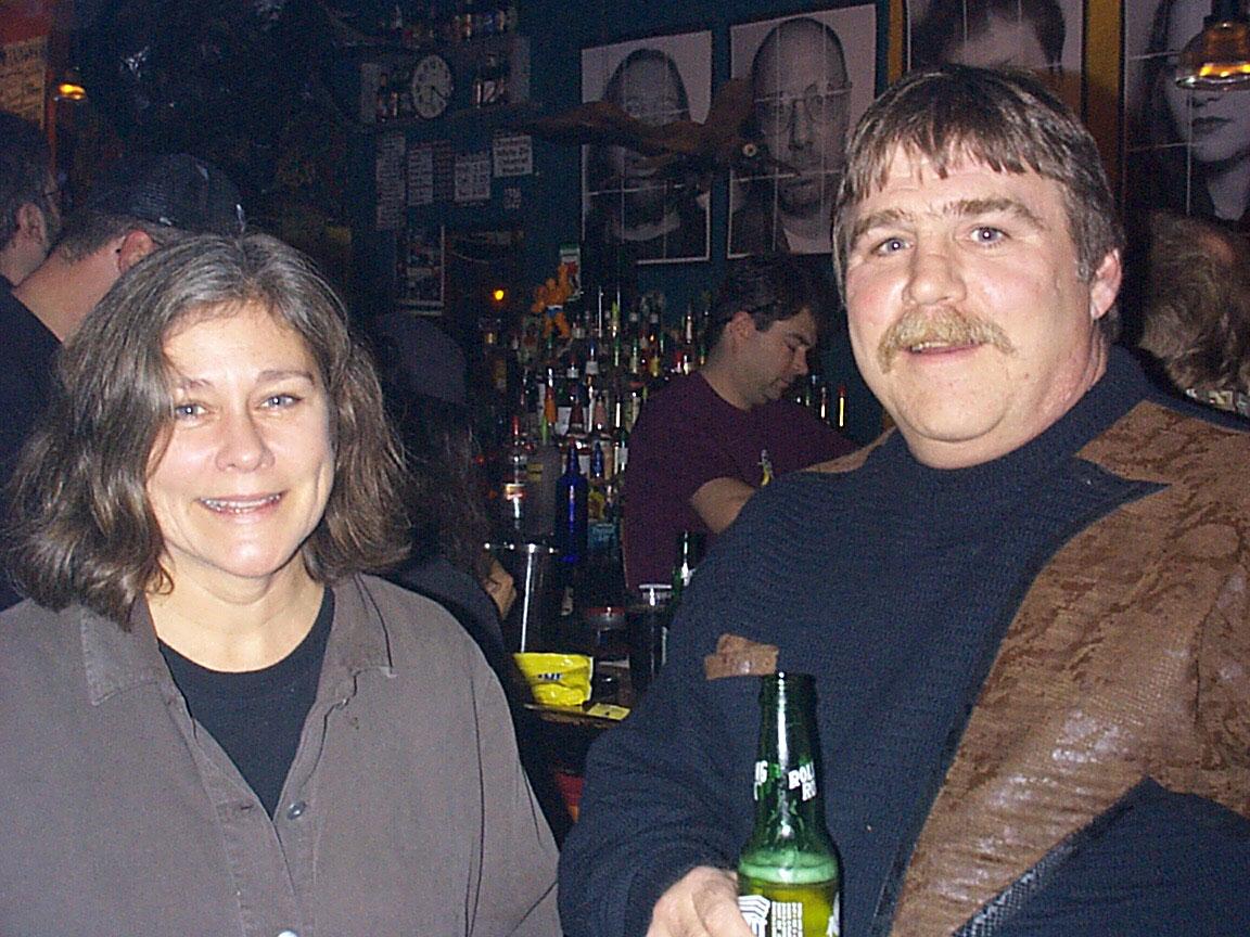 Peggi Fournier and Greg Slack at Paul Dodd Mugshot Show opening, Bug Jar, Rochester New York 1998