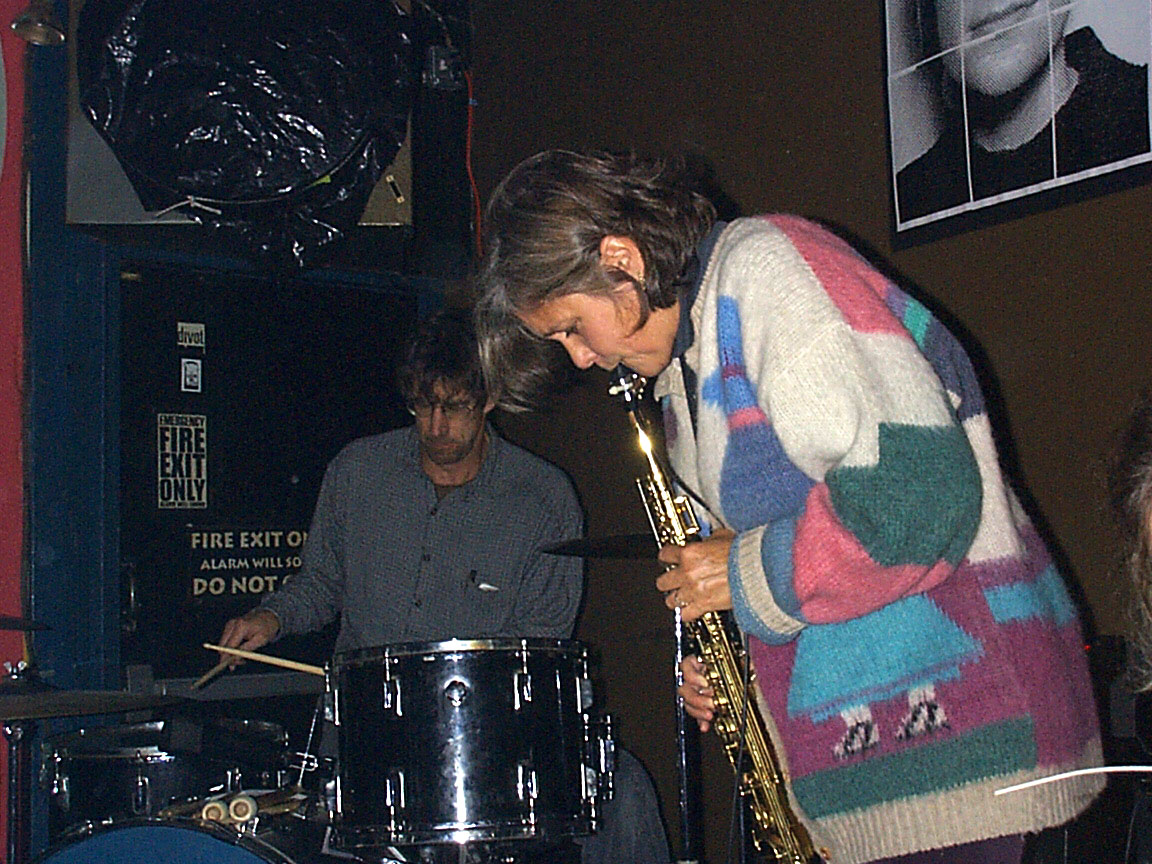 Paul Dodd and Peggi Fournier playing music at Paul Dodd Mugshot Show opening, Bug Jar, Rochester New York 1998