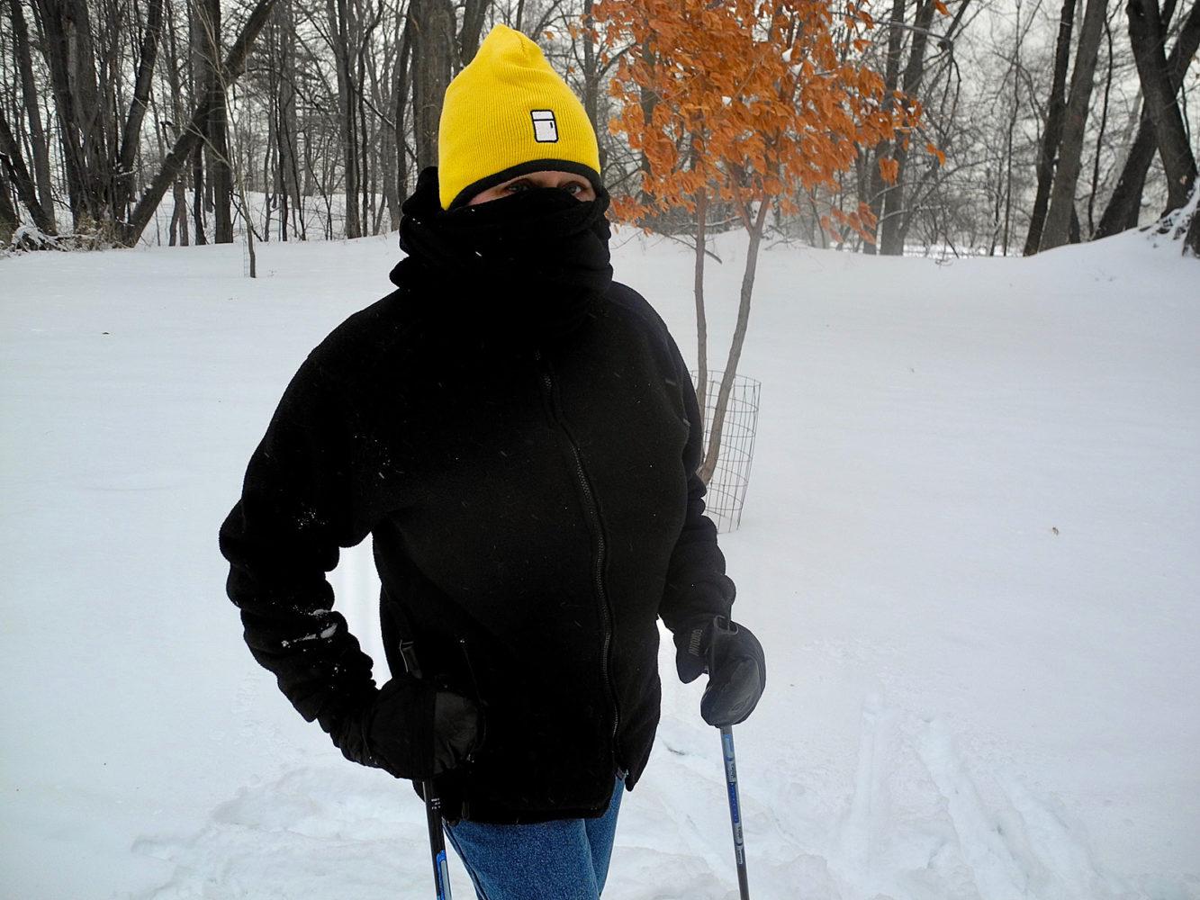 Peggi skiing with Refrigerator Hat