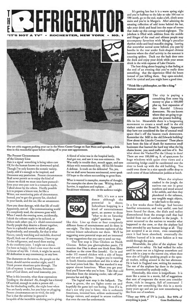 The Refrigerator #01. Cover of print edition, 1990s' broadsheet/zine from Rochester, New York