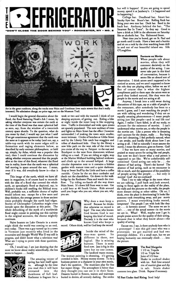 The Refrigerator #02. Cover of print edition, 1990s' broadsheet/zine from Rochester, New York