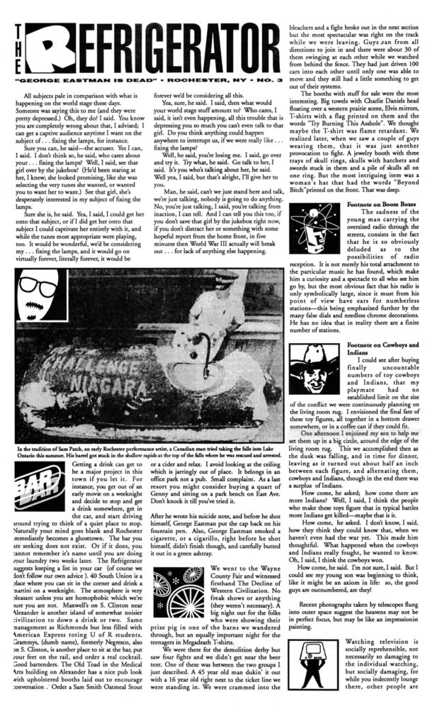The Refrigerator #03. Cover of print edition, 1990s' broadsheet/zine from Rochester, New York