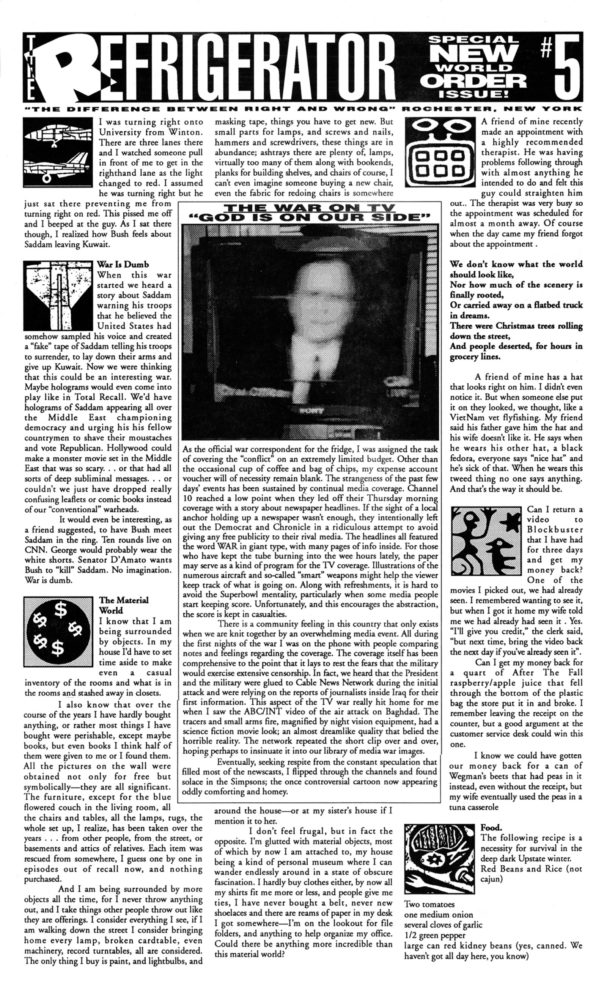 The Refrigerator #05. Cover of print edition, 1990s' broadsheet/zine from Rochester, New York
