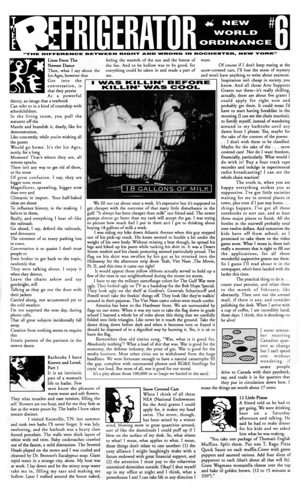 The Refrigerator #06. Cover of print edition, 1990s' broadsheet/zine from Rochester, New York