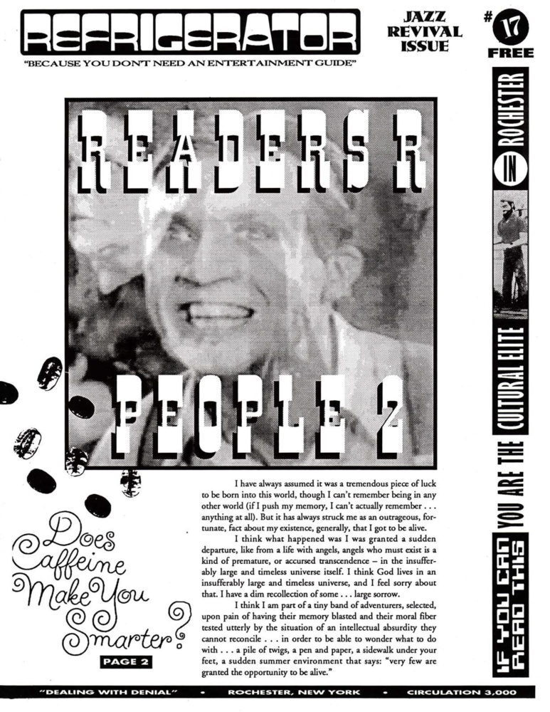 The Refrigerator #17. Cover of print edition, 1990s' broadsheet/zine from Rochester, New York
