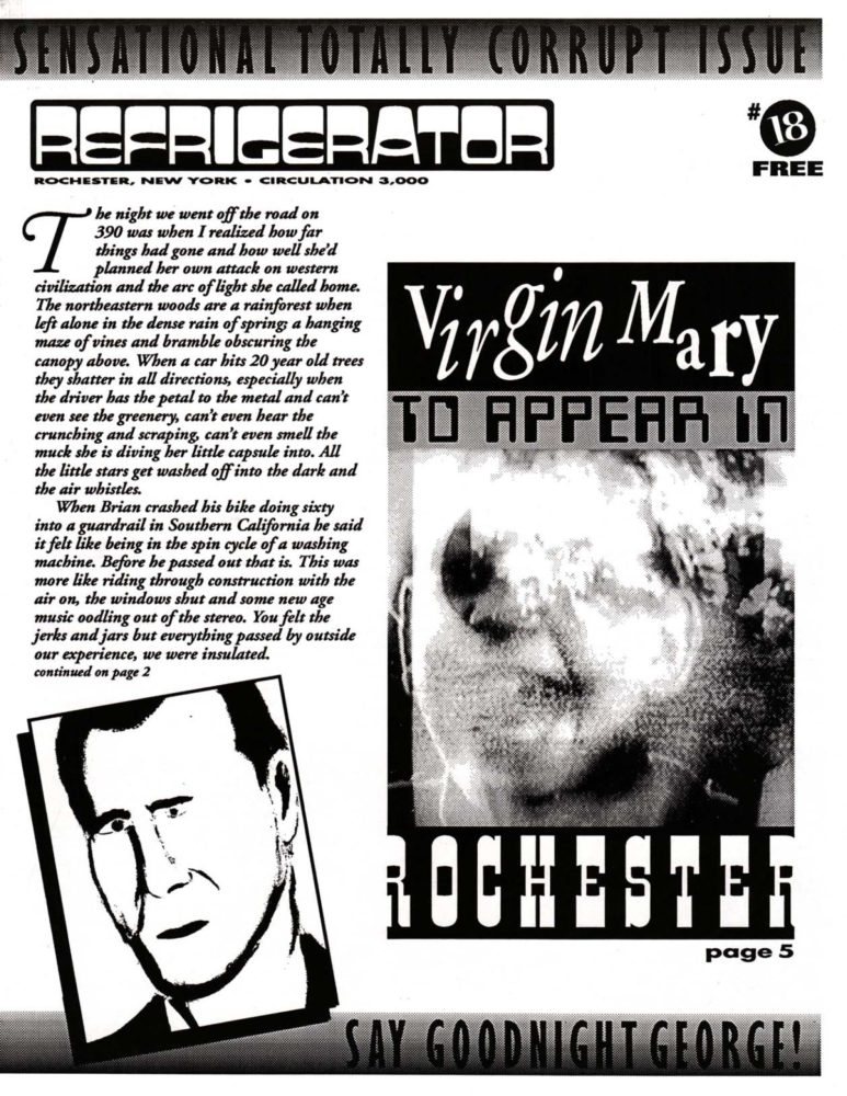 The Refrigerator #18. Cover of print edition, 1990s' broadsheet/zine from Rochester, New York