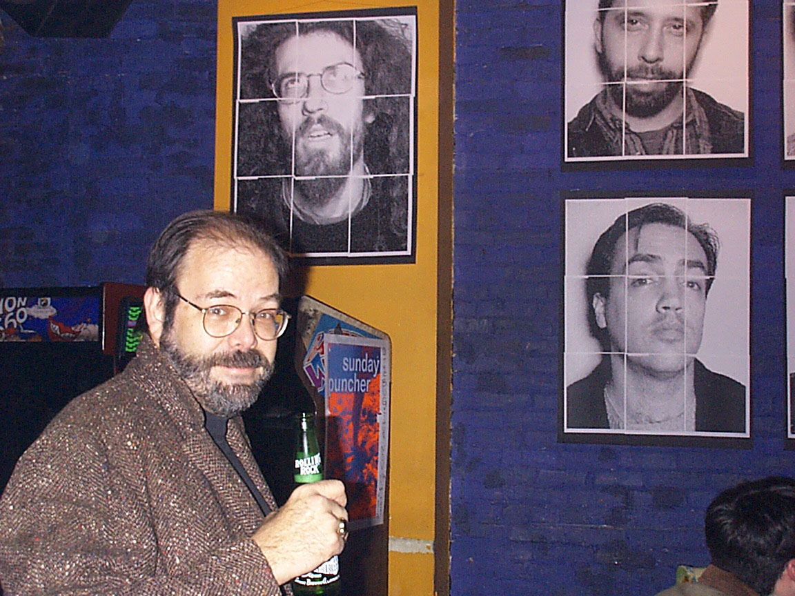 Roy Sowers at Paul Dodd Mugshot Show opening, Bug Jar, Rochester New York 1998