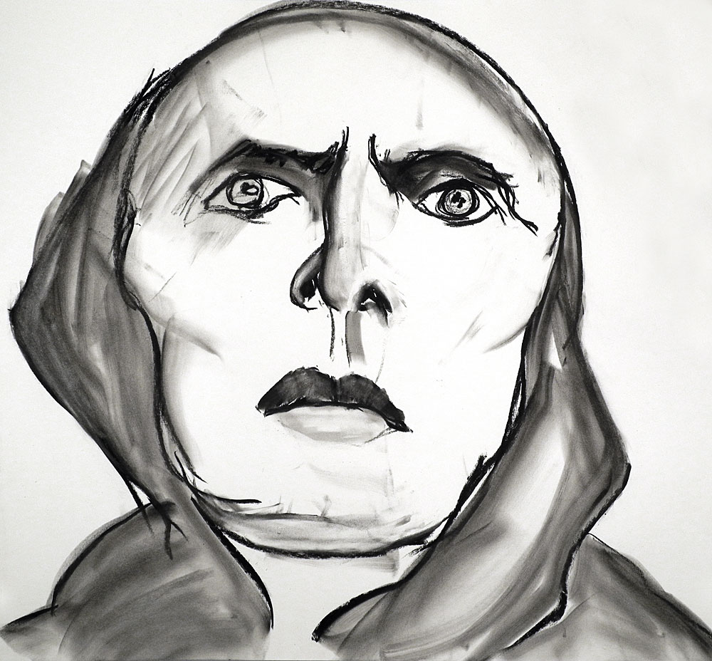 "Paul Dodd ""The Inquisitor"" 2012, 22""w x 20""h, charcoal on paper, Based on Passion of Saint Joan"