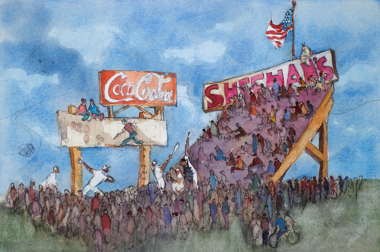"Leo Dodd watercolor Brighton Baseball Sheehans Field 15""h x 22""w"