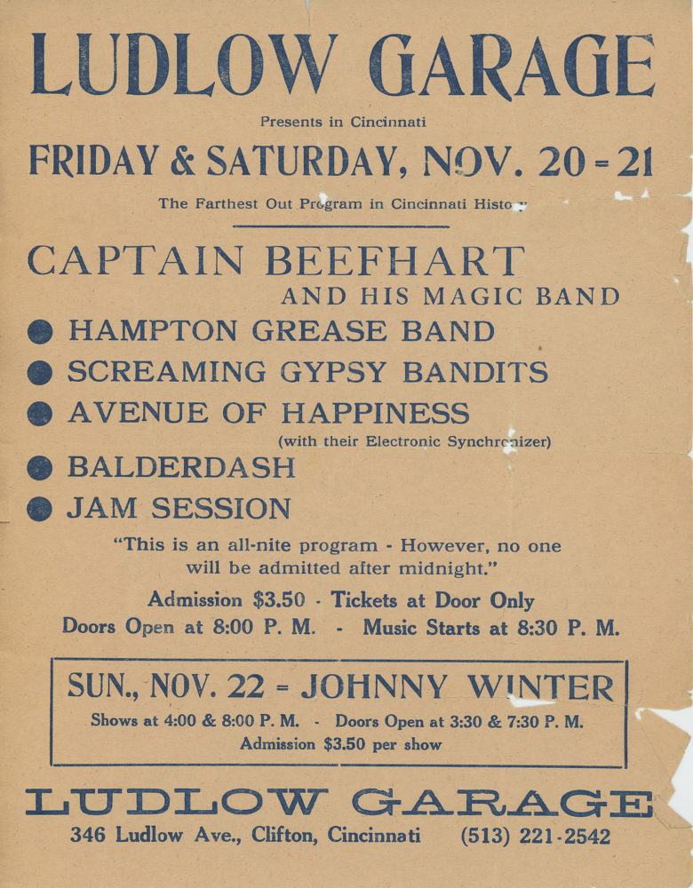 Poster for Captain Beefheart and His Magic Band, Hampton Grease Band and Screaming Gypsy Bandits at Ludlow Garage in Cincinnati in 1970