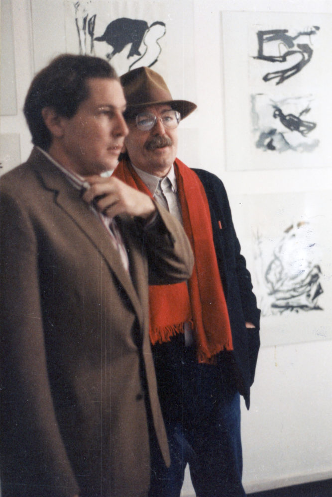 Don Van Vilet (aka Captain Beefheart) and Julian Schnabel at Michael Werner Gallery opening for show Don Van Vliet paintings 1995