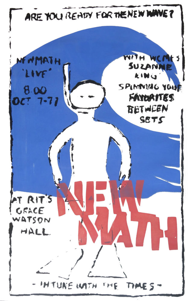 3 color silkscreen poster for New Math gig at R.I.T Grace Watson Hall on October 7, 1977