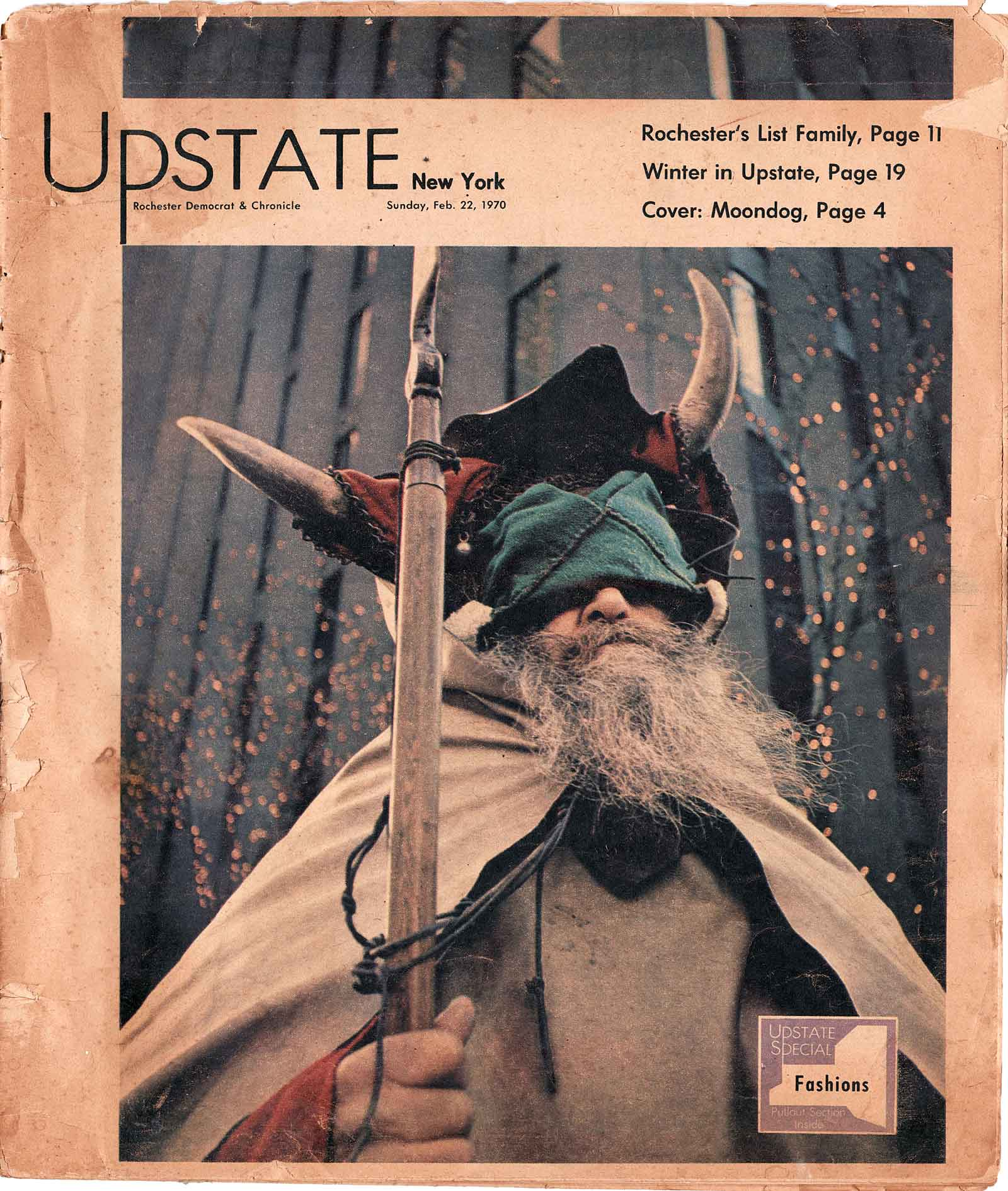 Upstate Magazine story on Moondog from 1970 Democrat & Chronicle in Rochester, New York