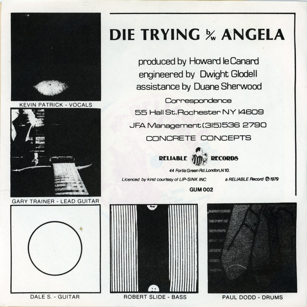 """New Math 45 back cover Reliable Records issue of New Math's """"Die Trying."""""""