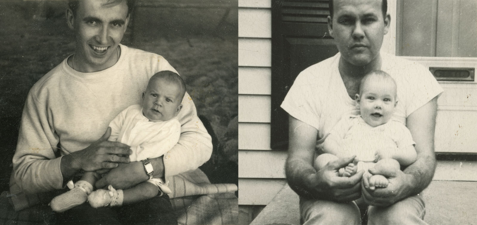 Paul with Leo in 1950. Peggi with John 1950.