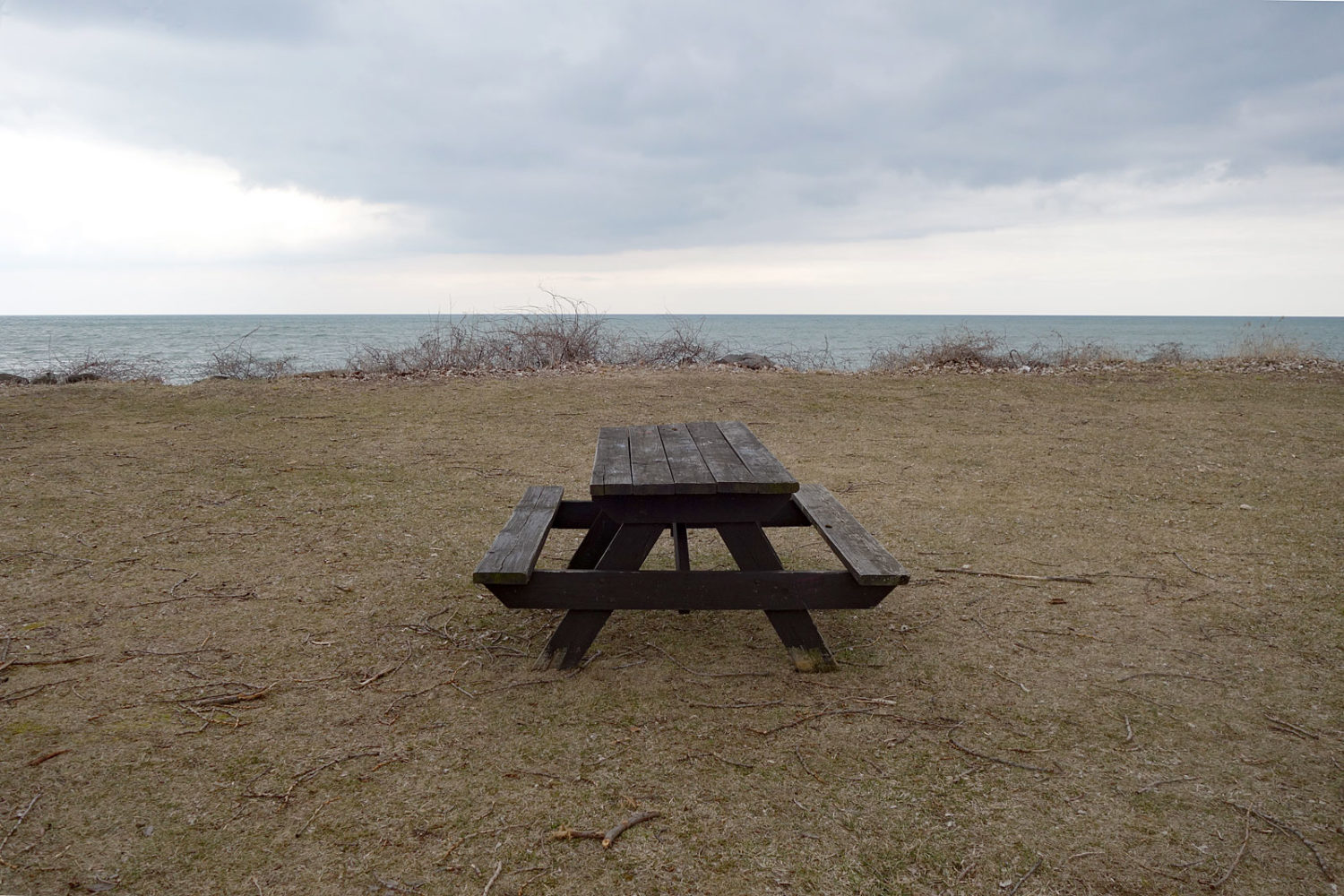 Picnic table along Lake Road in Webster, New York