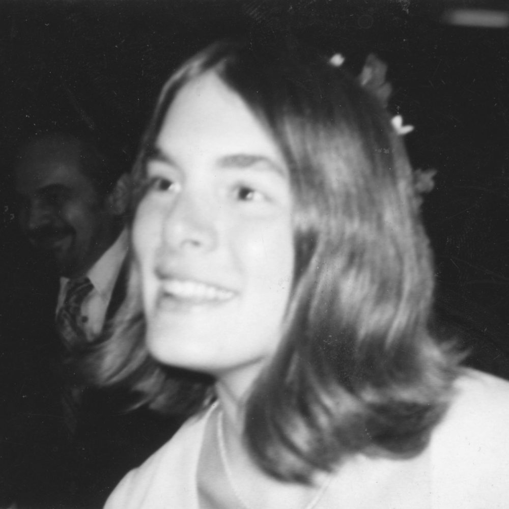 Barb at Barb and Roc's wedding in Indianapolis 1972.