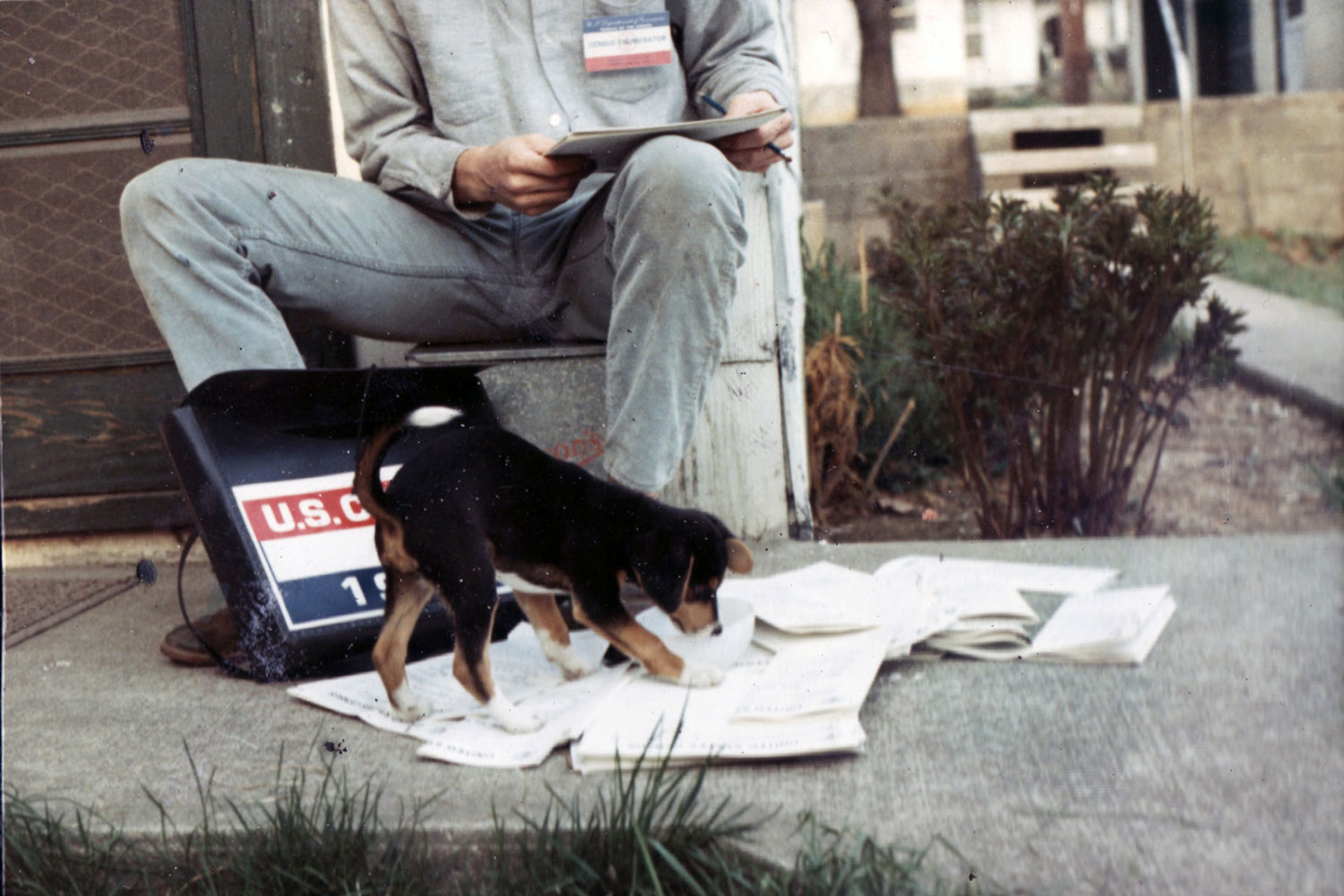 Paul and dog, Andy, taking the 1970 Census in Bloomington, Indiana
