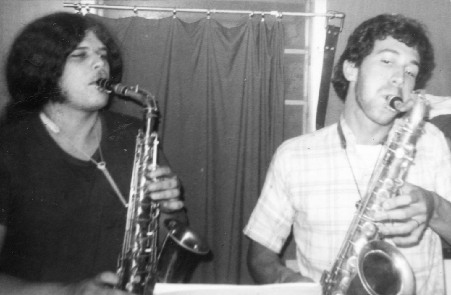 Chinaboise - Brad and Rich on alto saxes in Monon trailer