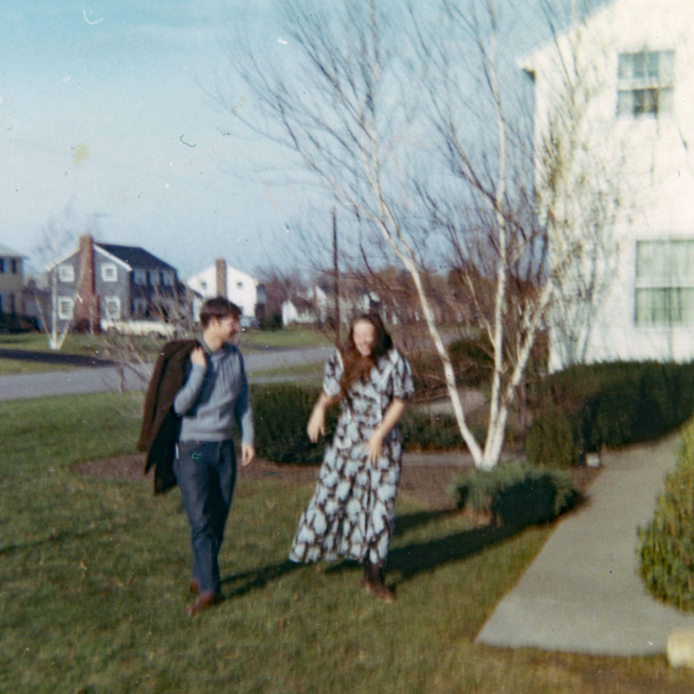 Norm and Pam outside of Hawley Drive in Webster before their wedding