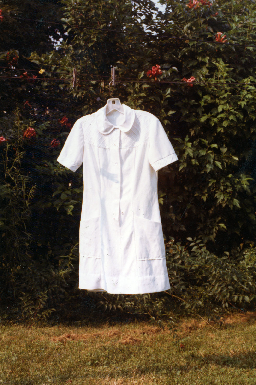 Peggi's dental assistant dress hanging on the line at Milton