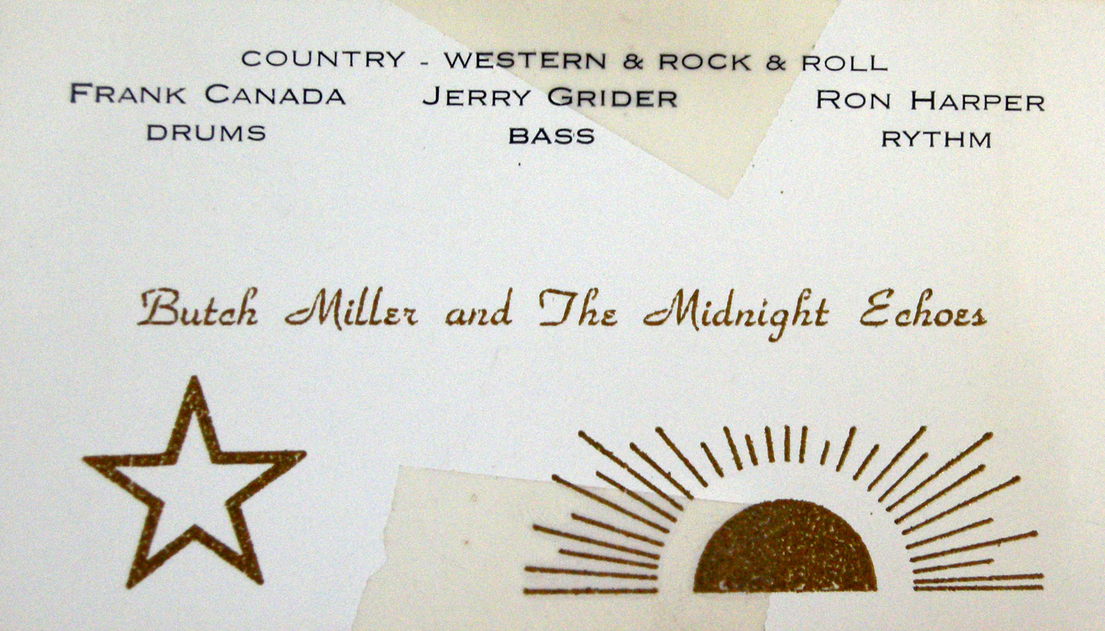 Butch Miller & The Midnight Echos business card