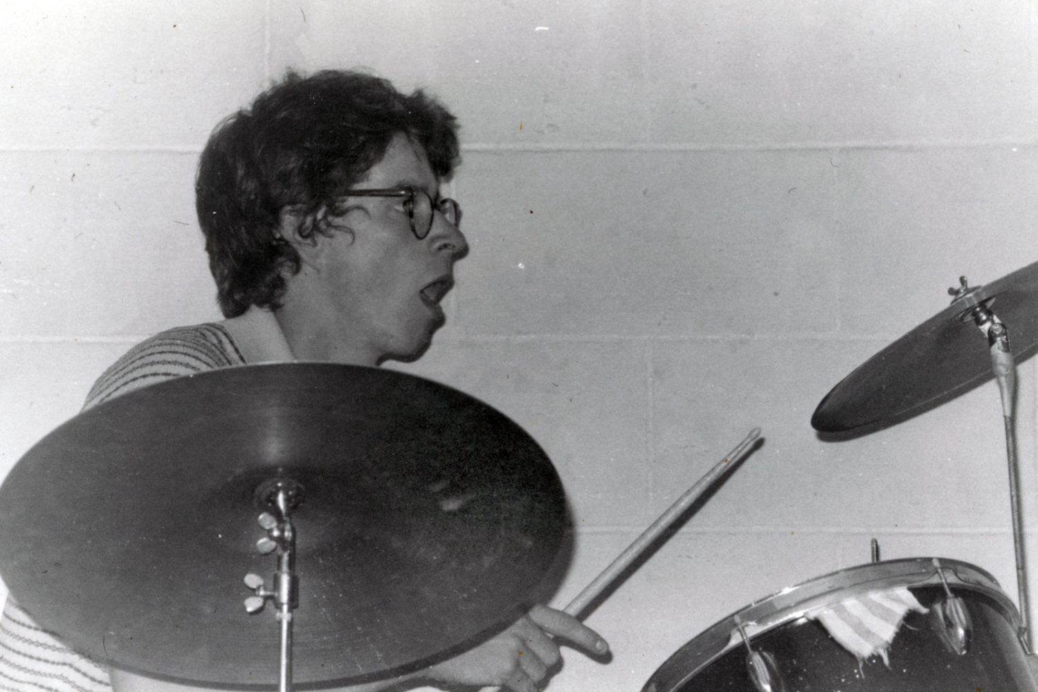 Paul playing drums with the On Fours